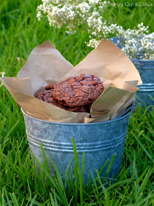 Double Chocolate Crackled Cookies in a bucket